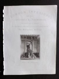 London Interiors 1841 Antique Print. Entrance to the National Gallery. Illus. Title Page